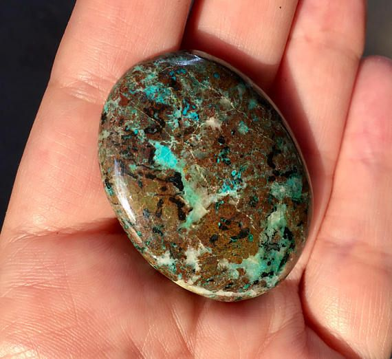 Copper azurite cabochon 85ct for DIY jewelry making - 12$ #minerals #gem #gemstone #gemstones #gems #GemsPlusLeather #azurite #cabochon #jewelry #jewellery #supplies #copper #handmadejewelry #diy #diyjewelry #supply #Gemsforall