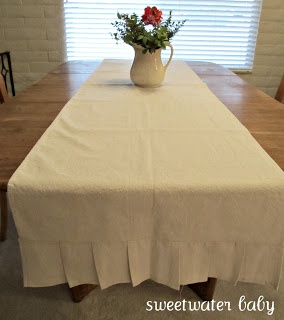 drop cloth table with pleats