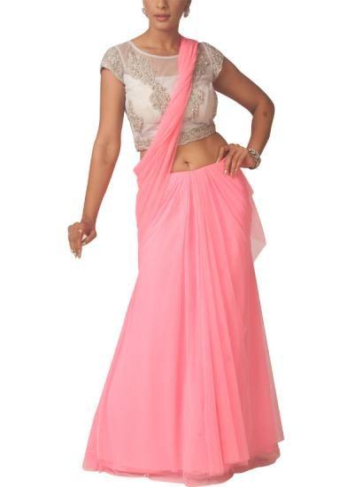 Indian Fashion Designers - Neha Gursahani - Contemporary Indian Designer - Sarees - NG-SS14-SS-08 - Pink Pre-draped Lehenga Saree
