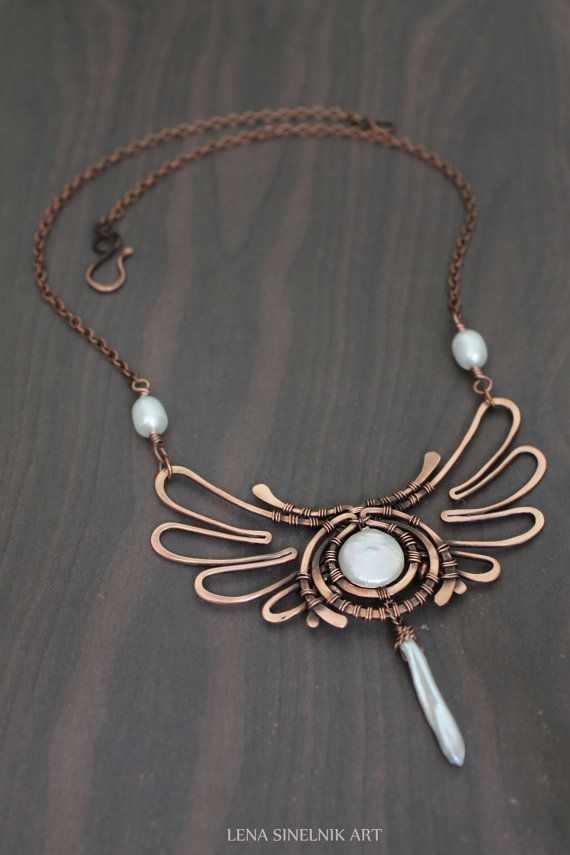 Pearls and Copper pendant, #Wire wrapped jewelry, handmade