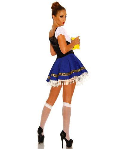 Prosit! Niedliches Kostüm-Mini-Kleid im bayrischen Dirndl-Look.  Einteiler, bestehend aus einem schwarzen Satin-Oberteil, weißem Blusenteil und einem blauen Tellerrock mit einem weißen Fransen-Saum.  Besonders gut für Kostümpartys oder fürs Oktoberfest geeignet