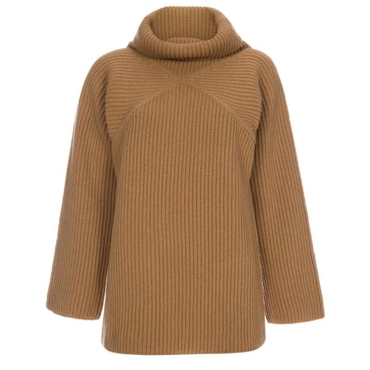 Paul Smith Women's Camel Funnel Neck Ribbed-Wool Sweater