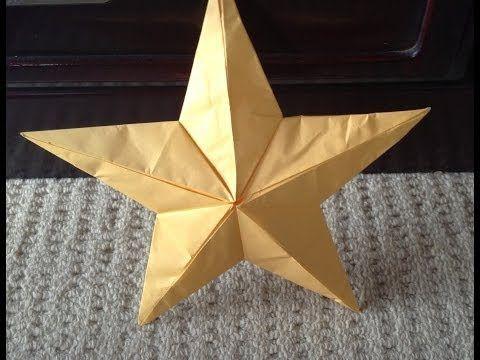 """折り紙 クリスマス飾り星 折り方 作り方 立体 How to make an star """"origami"""" - YouTube"""