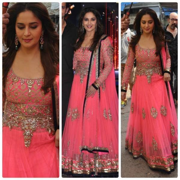 Madhuri Dixit Nene in Manish Malhotra on set's of Jhalak Dikhla Jaa | Celebrity Fashion