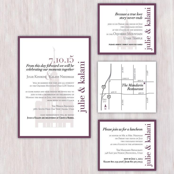 Buggs temple wedding invitations