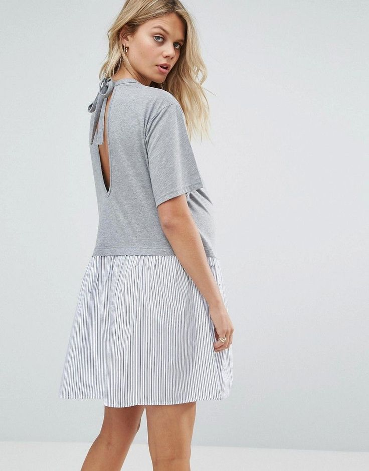 ASOS Maternity PETITE T-Shirt Smock Dress with Woven Frill Hem - Gray