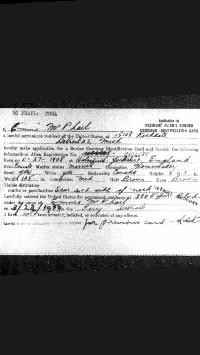 emma v mcphail  border crossing card  1947  cards