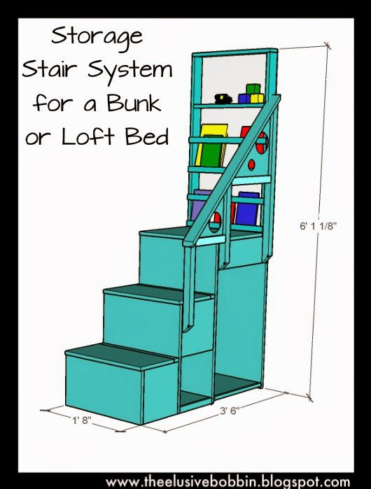 The Elusive Bobbin: Storage Stair System for a Bunk or Loft Bed - Free Plans Finished Project: http://theelusivebobbin.blogspot.com/2012/03/finding-space-aka-boys-room-makeover.html