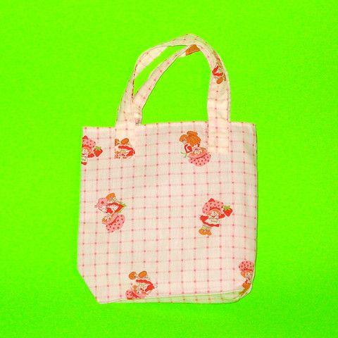 Strawberry Shortcake Vintage Fabric Plaid Purse - Mookie Designs