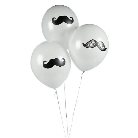 12 Mustache Party Balloons - Moustache Party Decorations