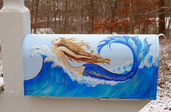 Hand Painted Mailbox with a MERMAID riding a by DancingBrushes, $129.00