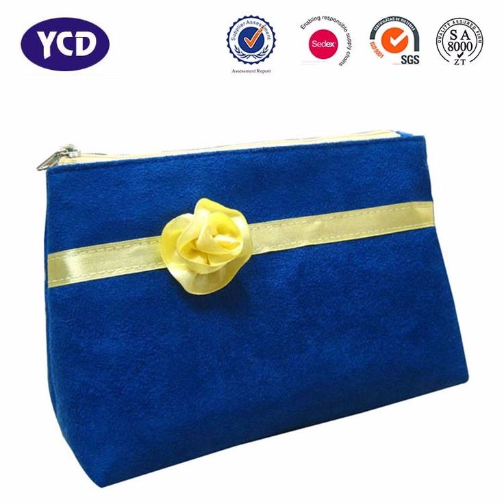 Hot OEM Custom Organizer Beauty Faux Suede Travel Cosmetic Makeup Bag