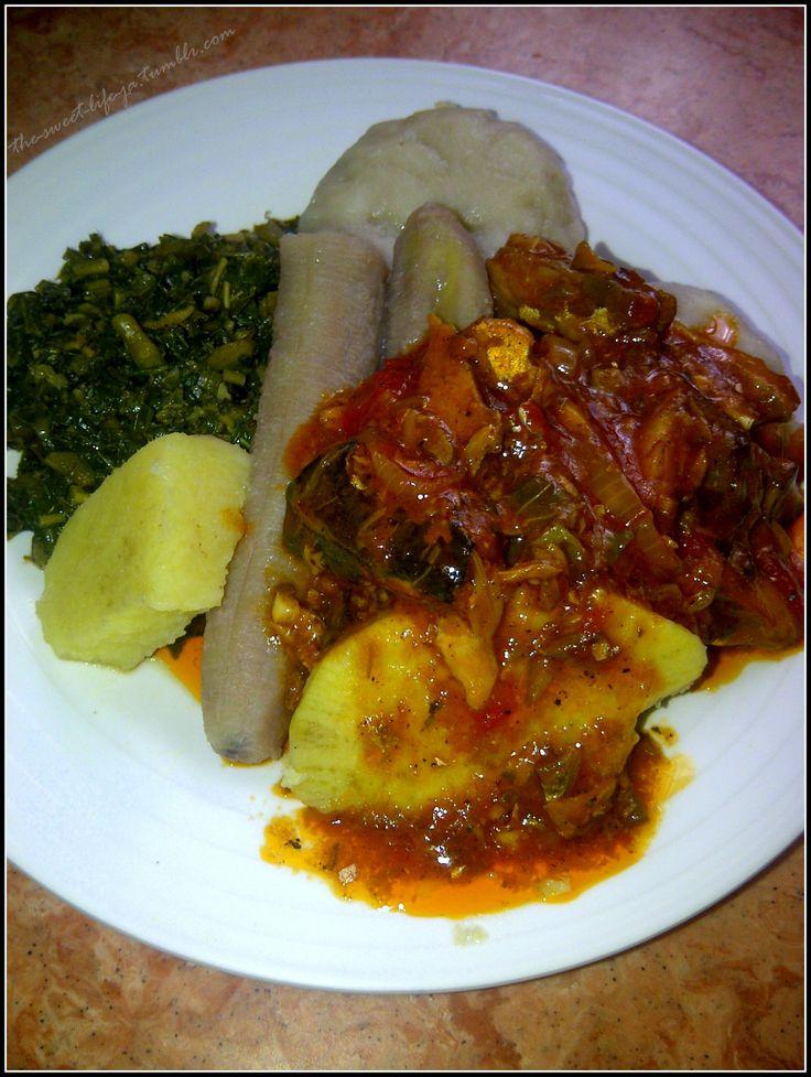Mackerel (aka Dutty Gyal), Callaloo, Boiled Dumplings, Boiled Banana, Sweet Potato and Yam :: Jamaican Food ::
