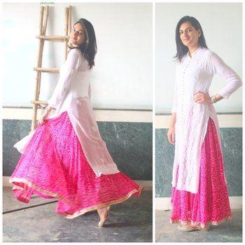 4) White Kurti + Long Skirt.