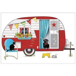Vintage Trailer in a flour sack towel with a black lab.