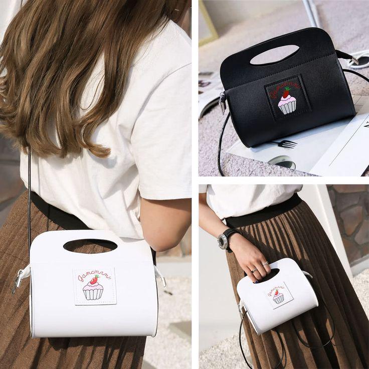 Cute Women Shoulder Bag PU Leather Cake Print Pattern Casual Sales Online black - Tomtop.com