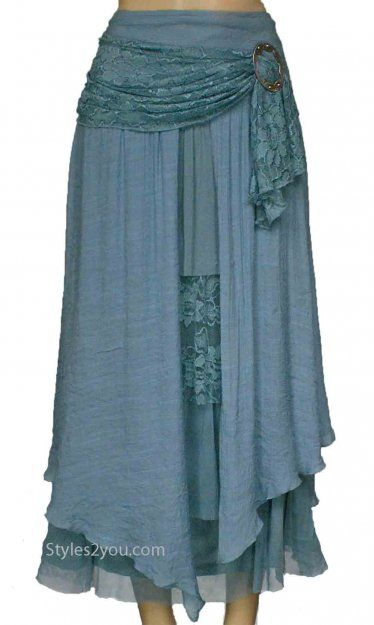 Pretty Angel Clothing Antique Belted Skirt In Aqua Pretty