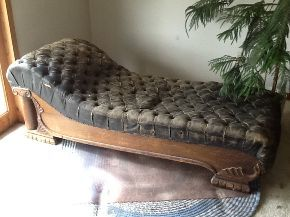 reviving an antique fainting couch, painted furniture, repurposing upcycling, reupholster