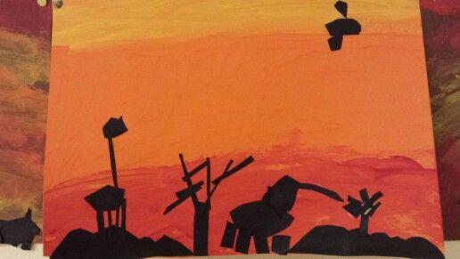 Verf de achtergrond, knip met zwart papier dieren en bomen. Dit is van een kleuter!