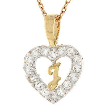 10k Gold Letter 'J' CZ Initial Heart Charm Pendant Jewelry Liquidation. $78.51. Made with Real 10k Gold. Made in USA!