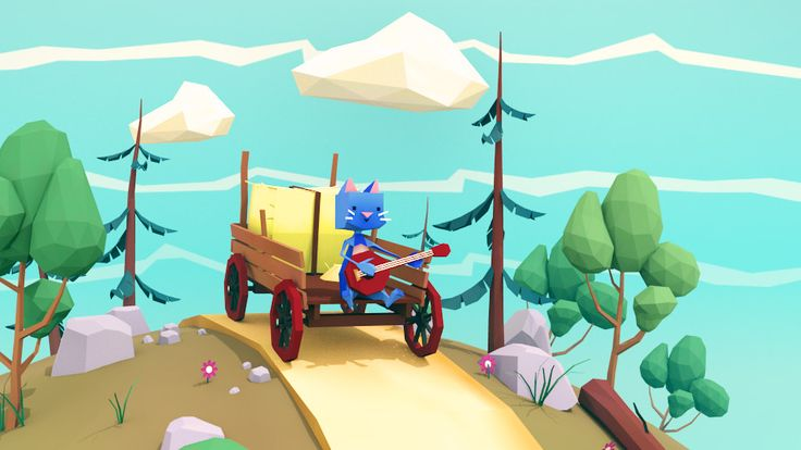 Low poly menu background for game, the globe will rotate and the cat will play some ukulele. fun stuff!