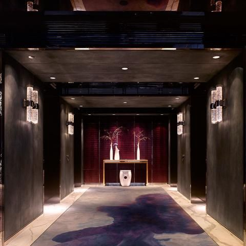 Elevator lobby at the Four Seasons Hotel Guangzhou, designed by HBA/Hirsch Bedner Associates.