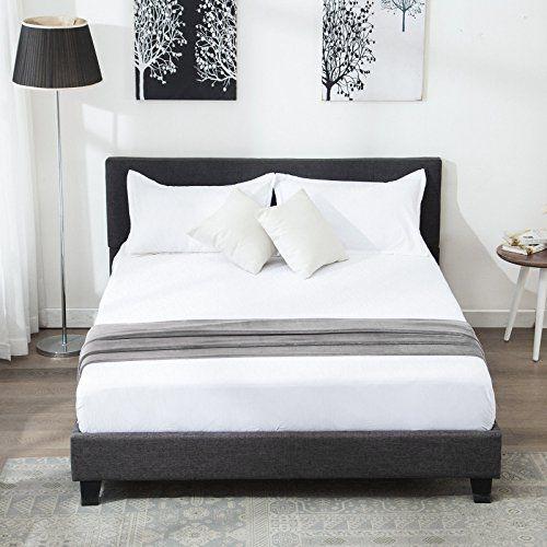 Linen Upholstered Platform Bed Metal Frame With Wood Slat Support