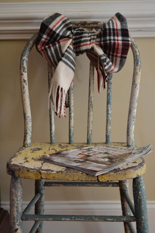 scarf tied on old chair-cute all winter!