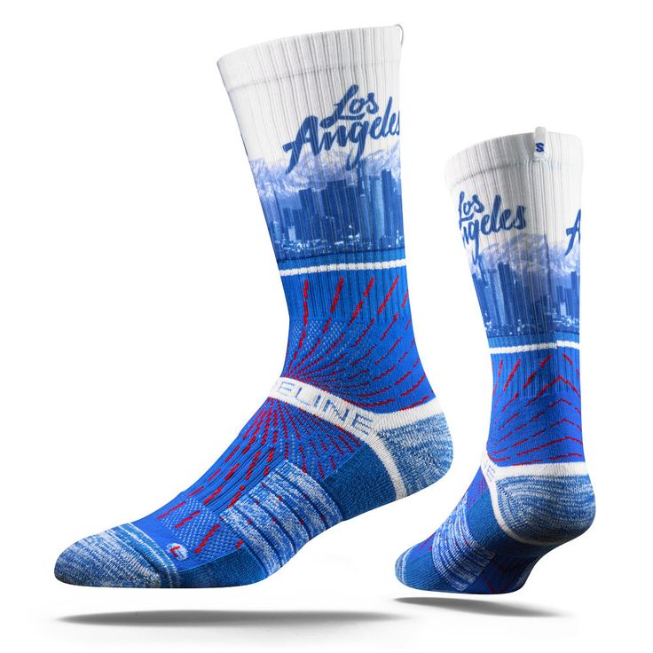 Strideline Los Angeles Skyline Socks Red Ray City View Strapped Dodgers Fan Fave #Strideline #LosAngelesDodgers