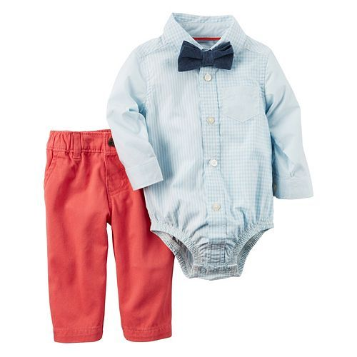 Baby Boy Carter's Gingham Button-Down Bodysuit, Chambray Bow Tie & Solid Pants Set