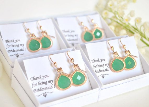 Mint bridesmaid earrings green bridesmaid by ArtemisBridalJewelry