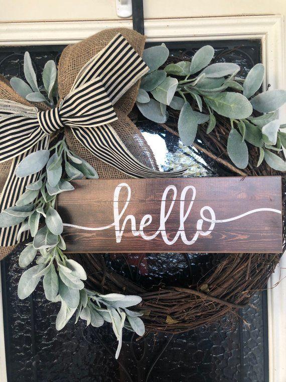 Farm wreath-grapevine wreath-front door decor-wreath …