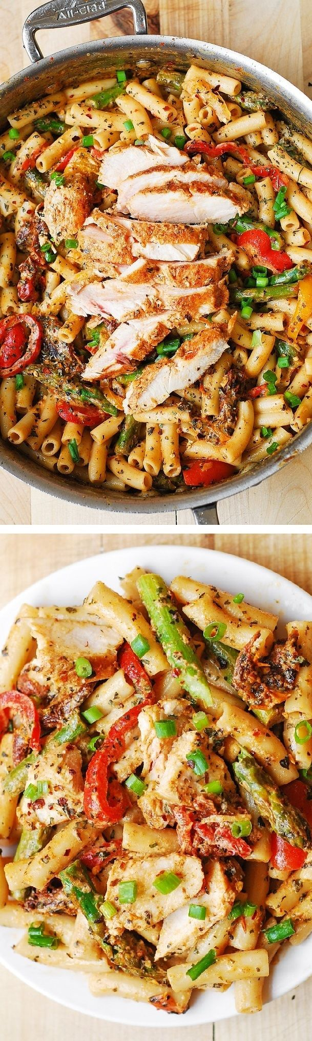 Chicken Alfredo Pasta with Bell Peppers, Asparagus, in a Creamy Sun-Dried Tomato Sauce. Gluten-free friendly recipe - just use gluten-free brown-rice penne pasta!