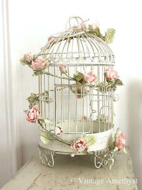 diy vintage wedding bird cage | pink garland on birdcage