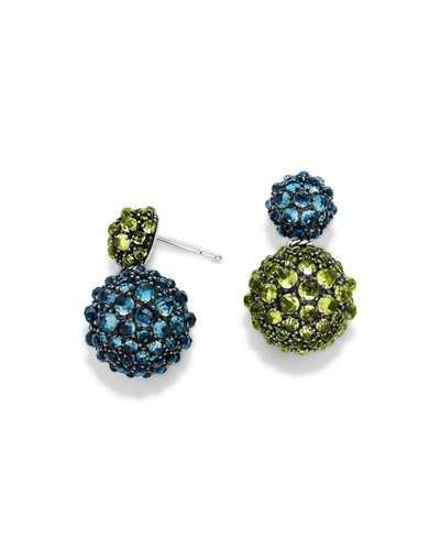 Y3P4S David Yurman Osetra Double-Drop Topaz & Peridot Earrings