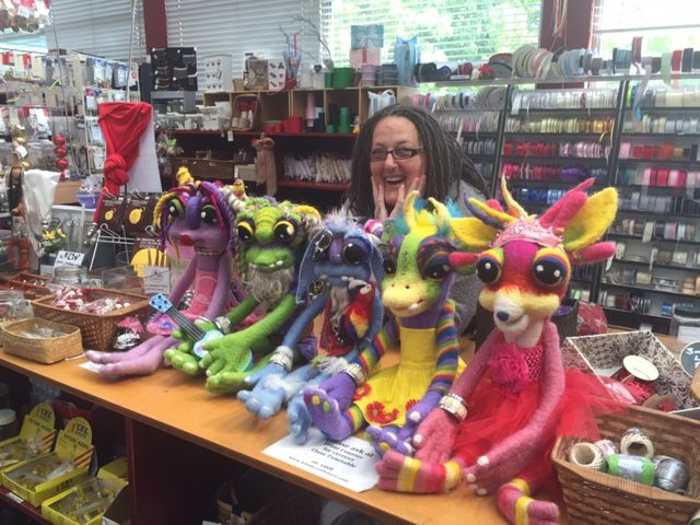 Leiarne McKenzie with the 5 felted dolls she has made using slivers from Hands Craft Store. #dolls #felting #felter #felt #slivers #dollfelting #dollmaking #hands #handscraftstore #christmasgifts