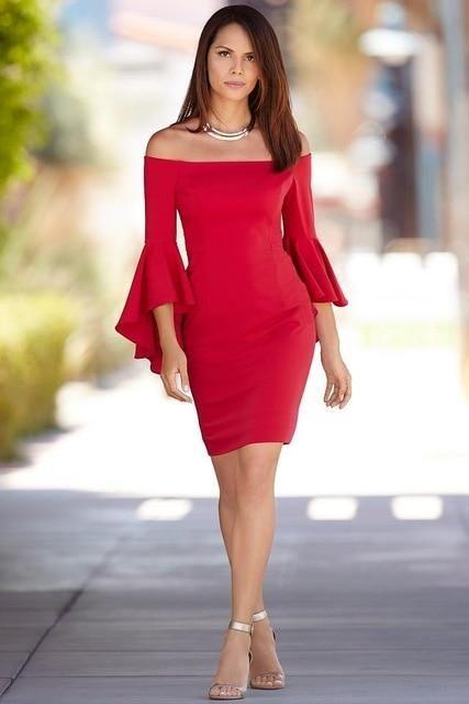 Women's Petite Long Flared Sleeve Slash Neck Short Pencil Dress