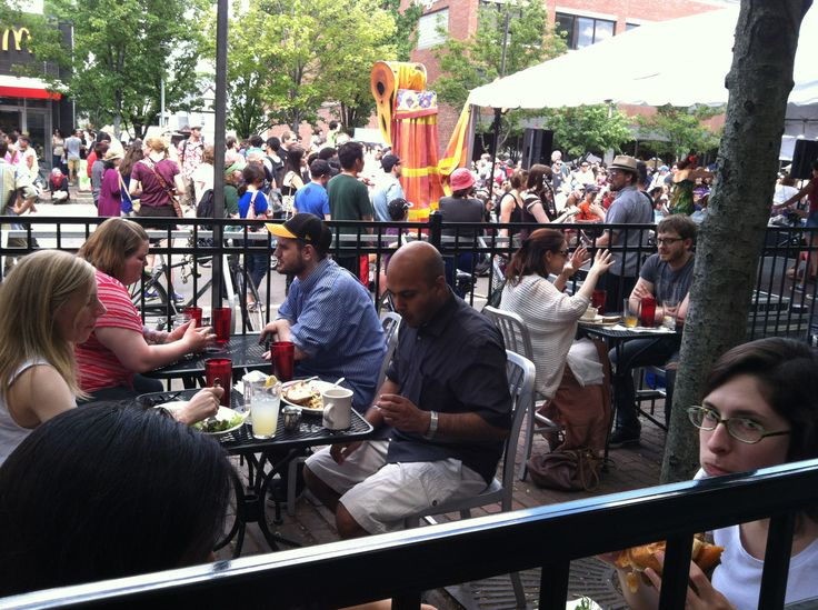 June 2014: Cambridge's annual River Festival was moved from down by the river up to Mass. Ave., and our patio was a prime spot to take it all in!  A gorgeous day in the Central Square Cultural District. www.veggiegalaxy.com