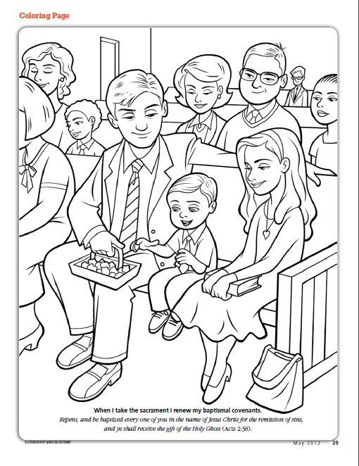 When I take the sacrament I renew my baptismal covenants (LDS The Friend Magazine Coloring Page)