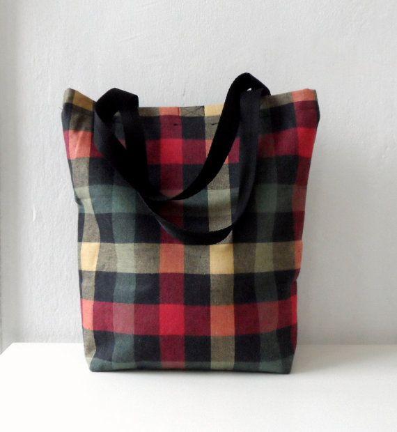 Plaid Bag  Checkered Tote bag,  colorful tartan winter trends, 2014 fashion