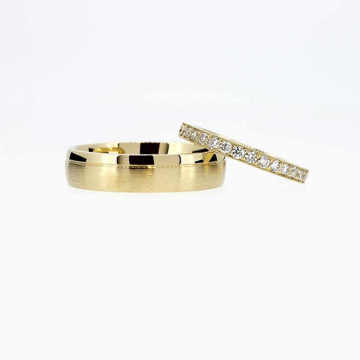 Wedding Band Set with Diamond Half Eternity Ring in Yellow Gold