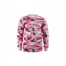 Womens Pink Camo Long Sleeve T-Shirt