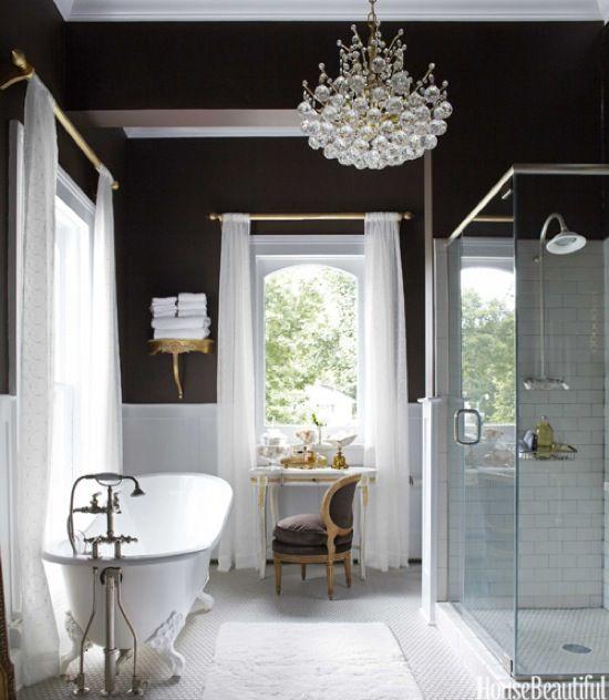 Subway & penny tile, black walls, crystal chandy, sheer curtains, clawfoot tub ... pinch me.