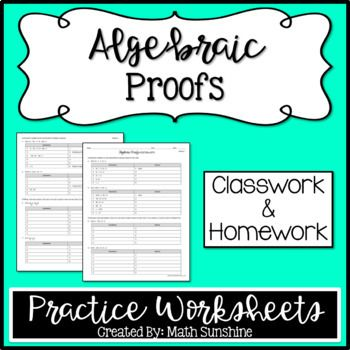 Algebraic Proofs Practice Worksheets Classwork And