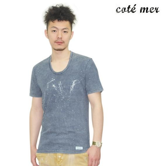COTE MER (コートメール) Uネック  Tシャツ ボーダー ネイビー×グレー TC-S12-013 ts-cot-011
