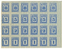 Blue ration stamps in US War Ration Book Two - used for canned and processed foods, while red stamps were used for meat, cheese, fats, and oils.