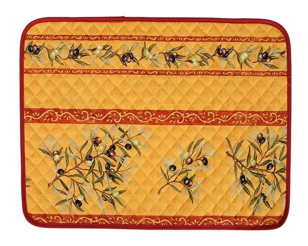 french linen cotton placement with olive motif in yellow/red