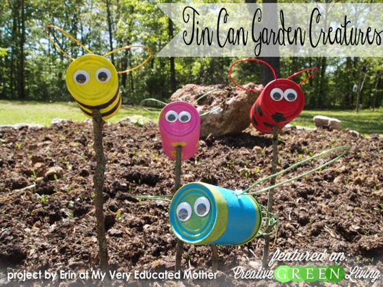 Make a cute upcycled kid craft with old tin cans and things from the dollar store.