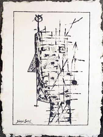 The crazy mathematician, 1994, ink on shimmed paper, 58x40 cm