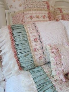 Wanna make pillows like this. Just adore the different fabric textures mixed.